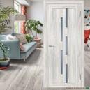 Дверь  PSL-33 ,цвет  Сан Ремо крем, стекло сатинат графит